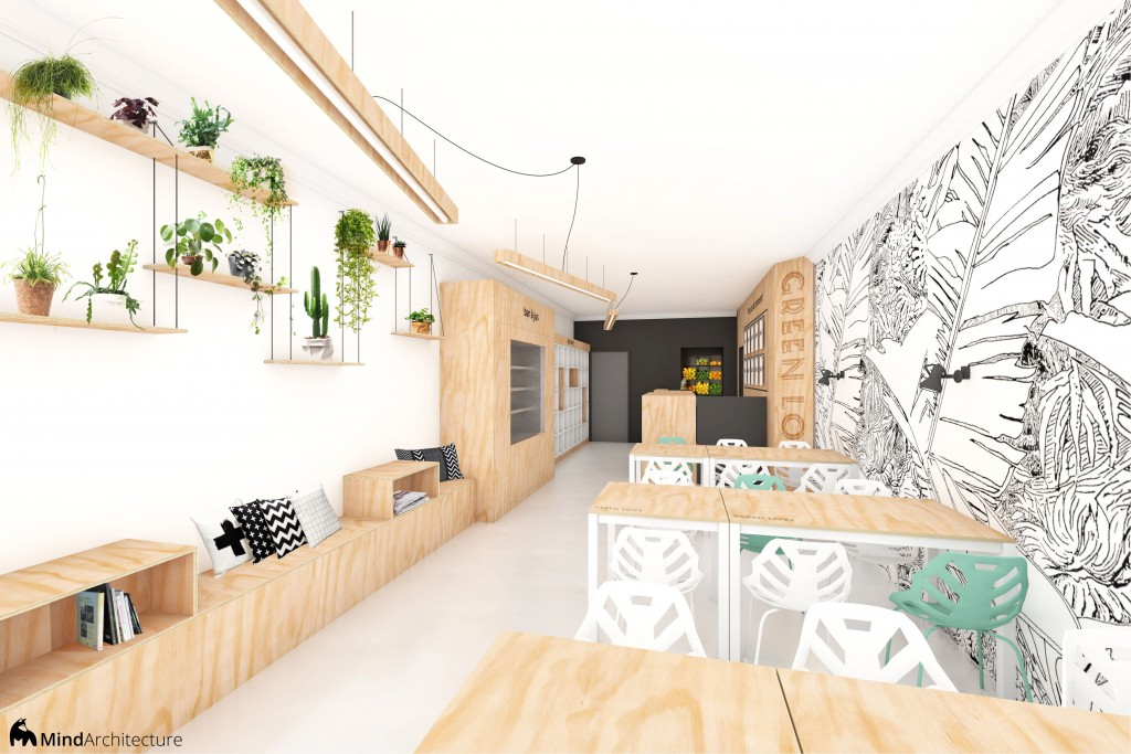 Green Love vegan restaurant and juice bar 01 - architecte - Mind Architecture