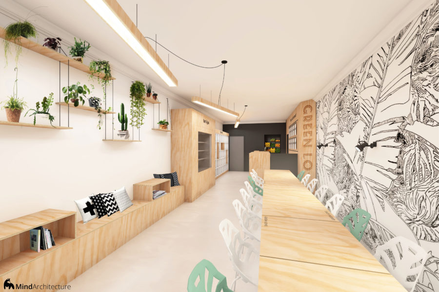Green Love vegan restaurant and juice bar 02 - architecte - Mind Architecture