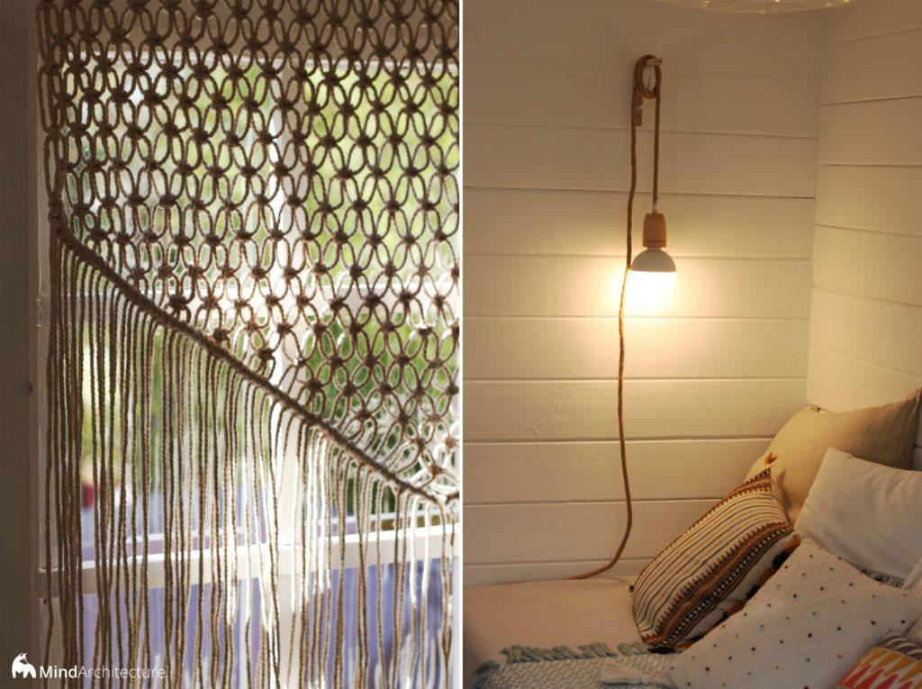 Duo photos abri jardin boheme - macramé et luminaire - Mind Architecture