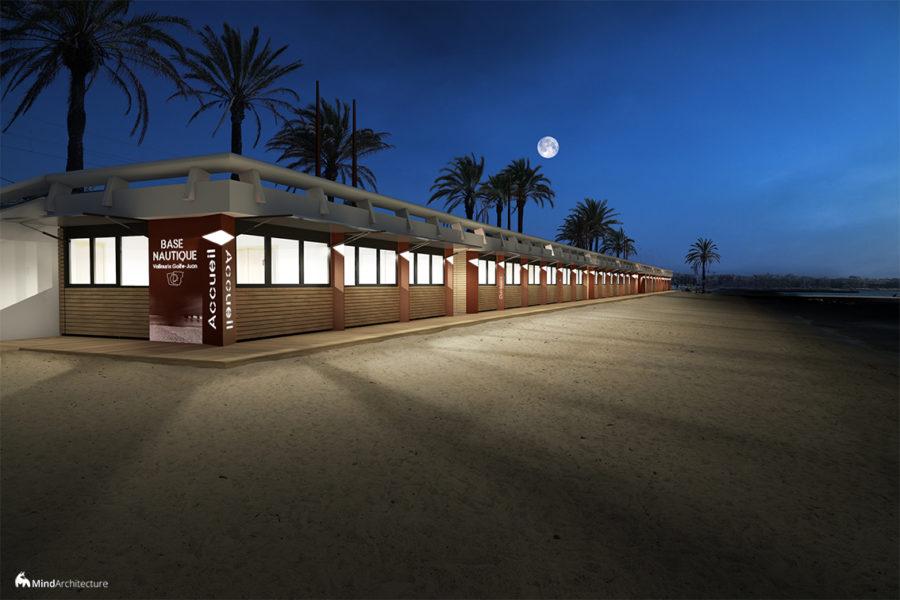 Base nautique Vallauris Golfe-Juan - perspective nuit volets ouverts - Mind Architecture
