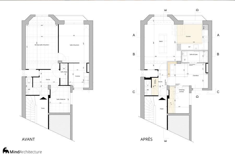 Appartement Blancarde Marseille - plan avant apres - Mind Architecture