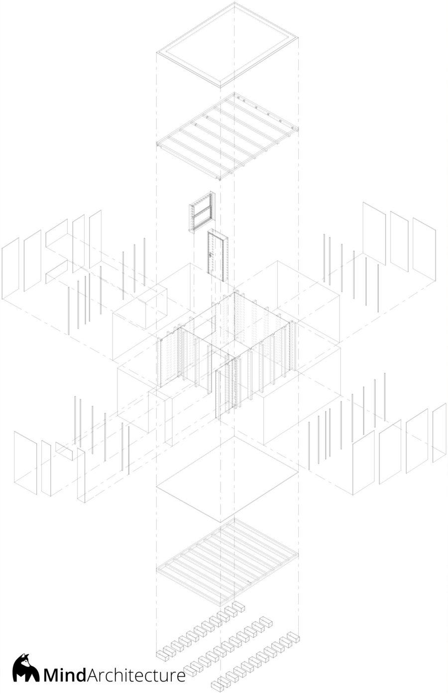 Tiny Pod Nos Amis Poilus - axonométrie éclatée construction