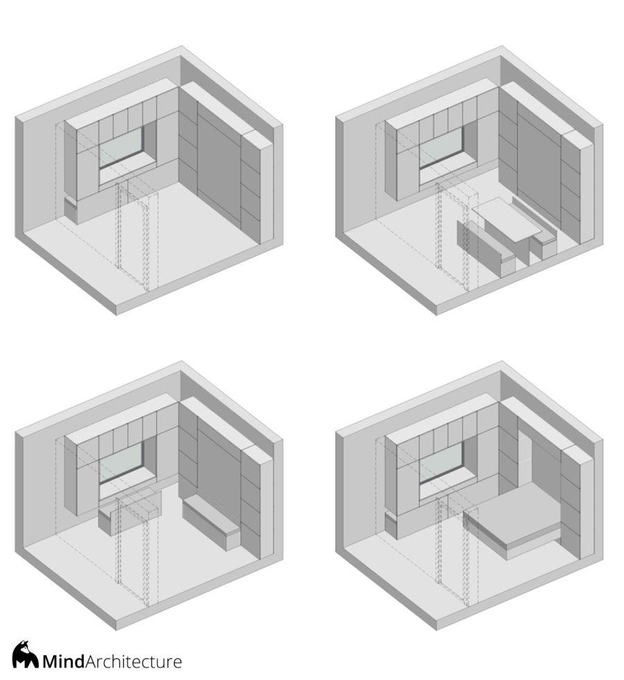Tiny Pod Nos Amis Poilus - axonométrie aménagement