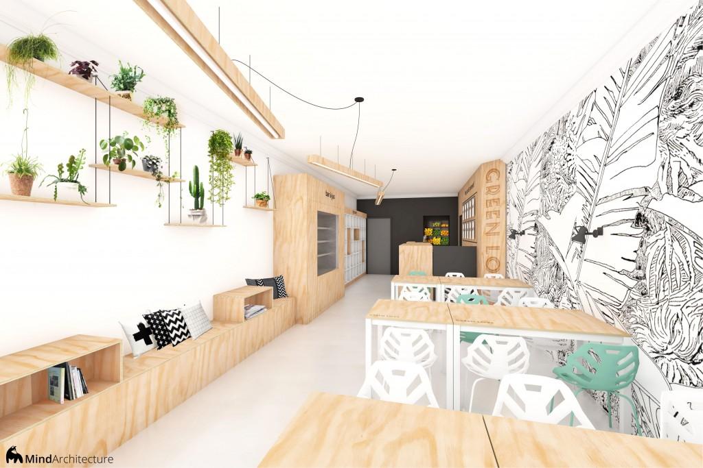 Green Love vegan restaurant and juice bar 01 - architecte - Mind Architecture