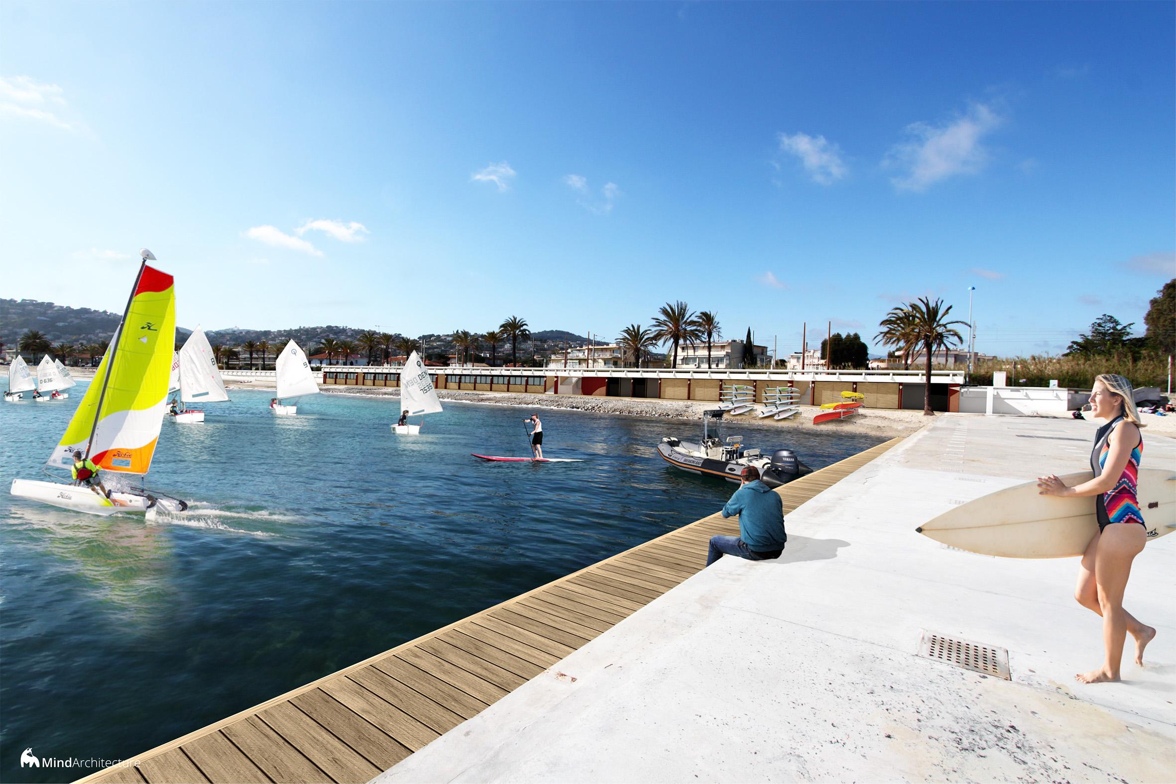 Base nautique Vallauris Golfe-Juan - perspective épi - Mind Architecture
