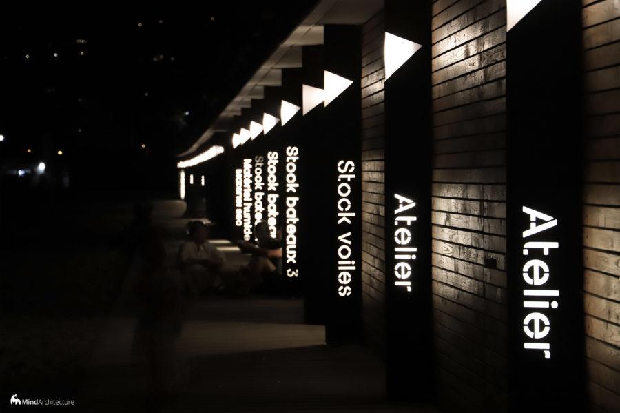 Base nautique Golfe-Juan - Mind Architecture - Photo nuit signalétique